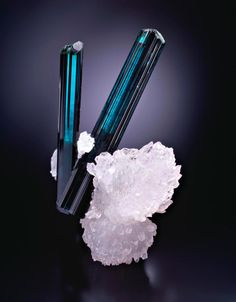 Indicolite with Quartz / Mineral Friends <3
