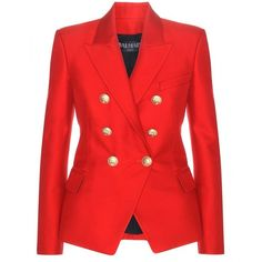 Balmain Silk-Blend Blazer ($1,200) ❤ liked on Polyvore featuring outerwear, jackets, blazers, balmain, red, red jacket, balmain jacket, red blazer and balmain blazer