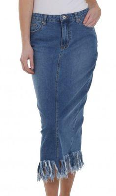 fbe6fb3357 Dungarees Online, Denim Skirts, Jean Skirt, Mid Length, Midi Skirt, Midi