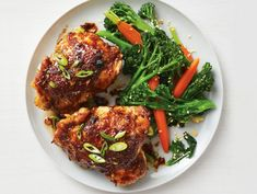 Get Asian Chicken Thighs with Broccolini Recipe from Food Network