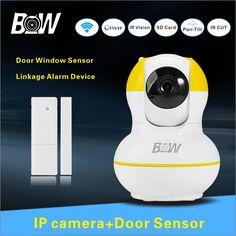 62.95$  Buy now - http://alitlu.worldwells.pw/go.php?t=32577062719 - Home Baby Monitor IP Camera + Alarm Sensor Door Sensor P2P Megapixel Full HD Home Alarm System Wifi Camera Security CCTV BW12Y