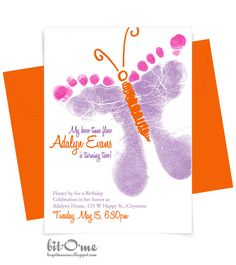 Bit-O-Me: Butterfly Birthday Feet {The Invitation}
