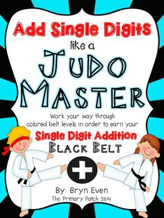 "HI-YAH! Who knew Math could be so much fun and highly motivational? This product takes the required task of learning how to add single digits to 18 and turns it into an extraordinary Judo adventure! Your students will love tracking their progress through 10 colored belt levels, eventually earning the elite status of an Adding Single Digits ""Black Belt Master""."