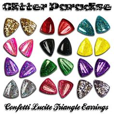 Confetti Lucite Triangle Earrings  Various Colors  Clips or Nails  Available at  http://ift.tt/1s8Puqy  Available at http://ift.tt/1QZq9Mx Handcrafted  In Francewith Love  since 2008 Glitter Paradise Do not copy do not reproduce.  #GlitterParadise #jewelrydesigner #Jewelry #PinupJewelry #pinup #pinupaccessorries #pinupfashion #Retro #TriangleEarrings #RereoFashion #retrofashion #retroaccessories #starlitejewelry #Pinupstyle #vintageFashion #Vintage #retrostyle #RetroEarrings #1950s…