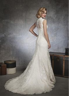 Stunning Lace & Satin Queen Anne Neckline Trumpet Wedding Dress With Beaded Lace Appliques
