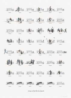 The Day in the Life of a BenchShowing how even the most mundane item can be transformed with a dash of creativity, this gorgeous illustrated chart showcases the day in the life of a park bench.