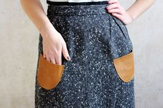 Style hack! Use scrap leather to add pockets to any skirt or dress.