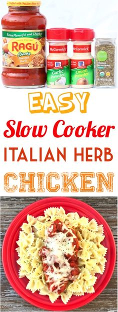 Italian Chicken Recipes!  This easy crockpot dinner with pasta and red sauce is so yummy!  The onion and seasoning flavor makes this weeknight slow cooker meal the perfect family  supper option!