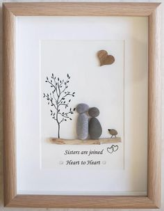 Pebble Art framed Picture Sisters