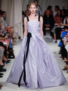 Oscar de la Renta, Silk Taffeta Draped Bodice Gown with Black Ribbon Details, $5,890
