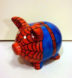 """Super Hero Piggy Banks by IzzytasticOriginal on Etsy--> the only thing I think of is """"spider pig, spider pig! Does whatever a spider pig does! Pig Bank, Color Me Mine, Superhero Room, Paint Your Own Pottery, Arts And Crafts, Diy Crafts, This Little Piggy, Man Room, Pottery Painting"""