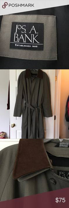 Jo's A Bank  MENS trench coat In great condition kaki green and brown size 46L trench coat. Has a zip out lining. Has a pleat in the back and side pockets. Jos A Bank Jackets & Coats Trench Coats