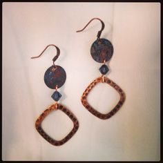 Copper and blue handmade earrings