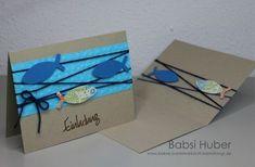 Einladung zur Kommunion, Kommunionskarte, Karte zur Kommunion, Embossing, Fischkarte von Babsi´s Bastelwerkstatt.