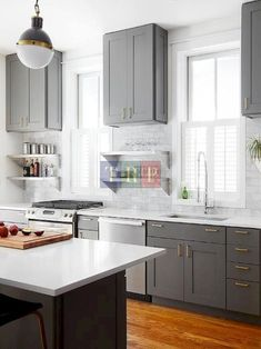 Grey kitchen ideas brings an excellent breakthrough idea in designing our kitchen. Grey kitchen color will make our kitchen look expensive and luxury. Grey Kitchen Floor, Dark Grey Kitchen Cabinets, Modern Grey Kitchen, Grey Kitchen Designs, Gray And White Kitchen, Kitchen Room Design, Grey Kitchens, Luxury Kitchens, Kitchen Layout
