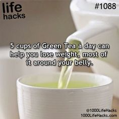 5 Cups of Green Tea a day can help you lose weight, most of it around your belly.