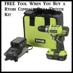 FREE Tool When You Buy a Ryobi Compact Drill/Driver Kit - http://dealmama.com/2017/06/free-tool-buy-ryobi-compact-drilldriver-kit/