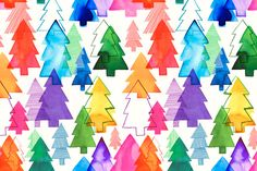 Overlapping Christmas Trees Rainbow by Margaret Berg