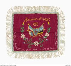 Embroidered 'Souvenir of Egypt' cloth : Private J Booth, 20 Battalion AIF
