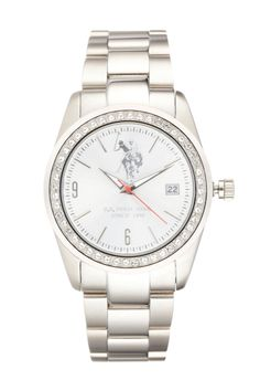 Venda U.S. Polo / 10704 / Mulher / Folheado Ouro e Aço / Relógio de Aço O'Hara Prateado e Branco