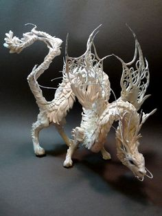 White Pearl Dragon. $275.00 #dragon #sculpture