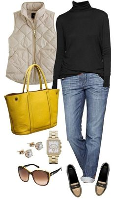 A fashion look from August 2012 featuring over sized sweaters, puffy vests and straight leg jeans. Browse and shop related looks. How To Have Style, Style Me, Look Fashion, Fashion Outfits, Womens Fashion, Fall Fashion, Fall Winter Outfits, Autumn Winter Fashion, Yellow Purses