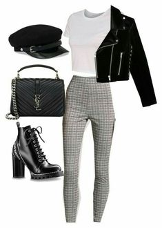 Edgy grunge plaid pants outfit outfits in 2019 идеи наряда, Mode Outfits, Trendy Outfits, Winter Outfits, Ladies Outfits, Casual College Outfits, Business Outfits, Chic Outfits, Teen Fashion, Korean Fashion