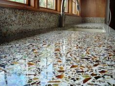 Recycled Crushed Glass Kitchen Countertops.