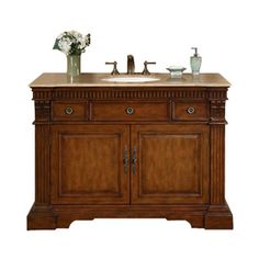 Silkroad Exclusive Isabella Cherry Undermount Single Sink Bathroom Vanity with Travertine Top (Common: 48-in x 21-in; Actual: 48-in x 21-in)