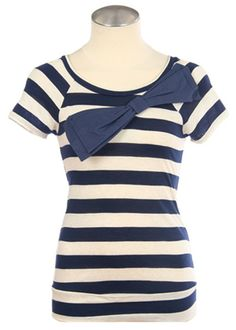 Sailors Away Striped Top In Navy