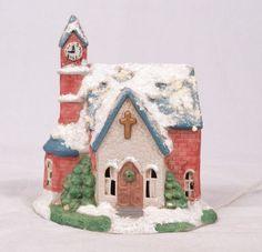 Christmas Village Ceramic Church Clocktower