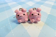 Kawaii Pink Pig Earrings Polymer Clay Cute Earrings via Etsy