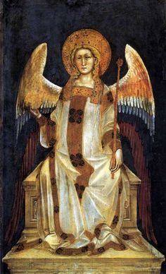 This painting by Guariento di Arpo (active c. 1338-76) shows a Dominion, a type of angel which, in the angelic hierarchy, presides over nations. Traditionally they are imagined as two-winged creatures who resemble beautiful humans.