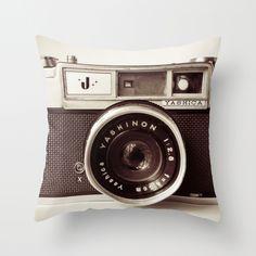 Camera Throw Pillow $35 from Society 6