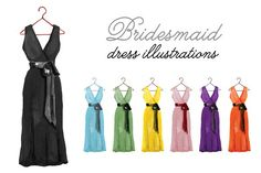 Bridesmaid Dress Illustrations by Charming Ink on @creativemarket