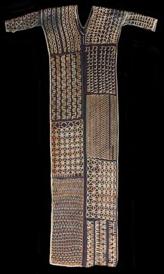 Fine example of a open-sided hand embroidered tunic of a type worn by young men of the nomadic Wodaabe people of Niger for certain important...