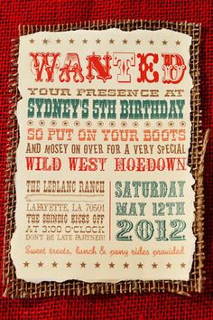 Birthday Party Invitation wording - Also GREAT ideas for drinks (little jugs of kool-aid) and food