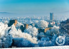 A layer of frost and ice covers the town of Ludlow, Shropshire, England.