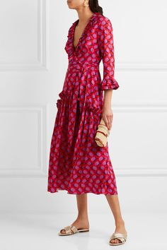 BORGO DE NOR Ines ruffled floral-print crepe de chine midi dress