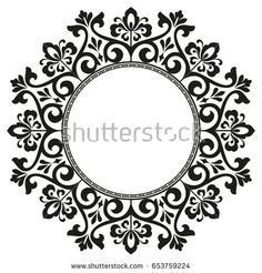 Decorative line art frames for design template. Elegant element for design in Eastern style, place for text. Black outline floral border. Lace vector illustration for invitations and greeting cards,
