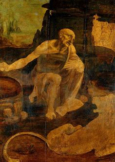 Leonardo di ser Piero da Vinci - St Jerome in the Wilderness Tempera and oil on walnut panel, c. 1480 103 cm × 75 cm in × 30 in) Vatican Museums, Rome, Italy St Jerome, Michelangelo, Renaissance Kunst, Italian Renaissance, Renaissance Paintings, Obras Leonardo Da Vinci, Oil Painting Reproductions, Religious Art, Religious Paintings