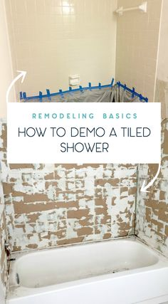 Demoing basics and tips on removing old shower tile: need to remember this for my next bathroom remodel! https://www.uglyducklinghouse.com/tips-remove-old-shower-tile/?utm_campaign=coschedule&utm_source=pinterest&utm_medium=Sarah%20Fogle%20%7C%20The%20Ugly%20Duckling%20House&utm_content=Tips%20on%20How%20to%20Remove%20Old%20Shower%20Tile