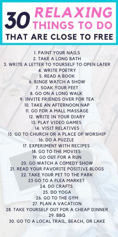 30 Relaxing Things to Do That Are Close to Free — TayTalksMoney Need to relax a bit? Relaxing things to do that doesn't cost a lot of money and are pretty cheap. 30 Relaxing Things to Do That Are Close to Free — TayTalksMoney Relaxing Things To Do, Things To Do At Home, Stuff To Do, Free Things To Do, Random Things To Do, Things To Know, Cheap Things To Do, Fee Du Logis, What To Do When Bored