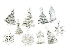 1 packet of 40 Mixed Silver Tone Christmas Charms Pendants: Amazon.co.uk: Kitchen & Home