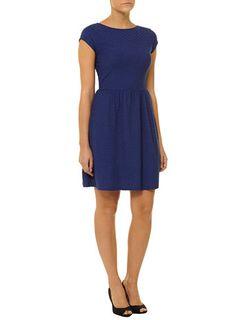 Blue slash neck dress