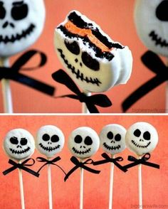 DIY Easy Jack Skellington Oreo Pop Tutorial from Big Bear's Wife.These Jack Skellington Pops are made from orange filled Oreos that you can find around Halloween time. For more Halloween food like spider donuts, 18 Gross Halloween Recipes, snakes on a sti Comida De Halloween Ideas, Dulces Halloween, Postres Halloween, Dessert Halloween, Soirée Halloween, Halloween Food For Party, Holidays Halloween, Halloween Costumes, Halloween Snacks