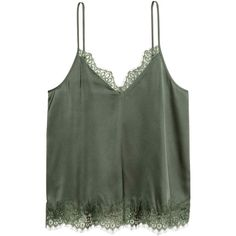 Satin strappy top (€17) ❤ liked on Polyvore featuring tops, satin top, strappy top, green top, v-neck tops and v neck tops