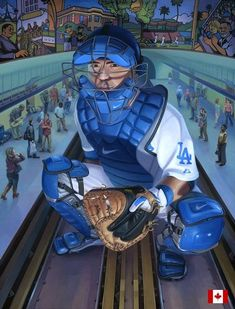 """The Waiting Room with Russell Martin"" acrylic/collage by Steven Hughes Russell Martin, Baseball Art, Baseball Stuff, Diamonds In The Sky, Baseball Equipment, Waiting Rooms, Toronto Blue Jays, Go Blue, Sports Art"