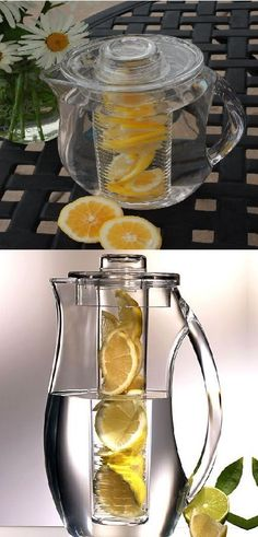 This perfectly common fruit infusion pitcher kitchen gadget is perfect for your lemon juices and other fruit infusions.