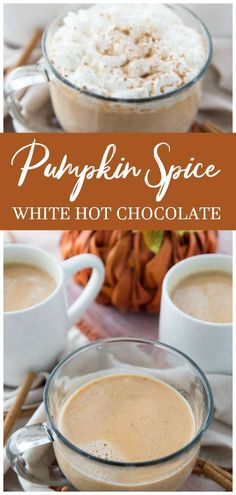 The perfect drink to sip on this fall to warm you up with the perfect flavor for fall, pumpkin white hot chocolate. A delicious and rich white hot chocolate that has a pumpkin spice spin on it. Made with pumpkin puree, pumpkin pie seasonings, and white ch Pumpkin Recipes, Fall Recipes, Holiday Recipes, Holiday Ideas, Baking Recipes, Dessert Recipes, Party Recipes, Breakfast Recipes, Dinner Recipes